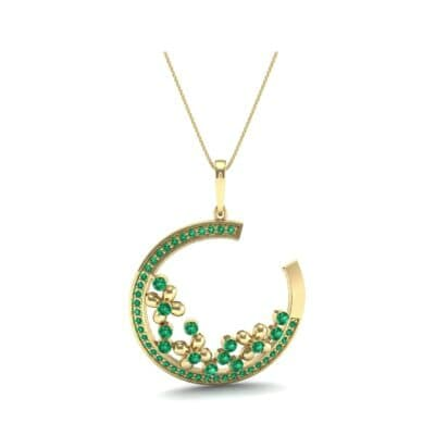 Open Circle Flora Emerald Pendant (0.86 CTW) Perspective View