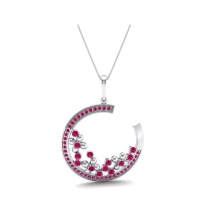 Open Circle Flora Ruby Pendant (0.86 CTW) Perspective View