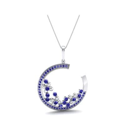 Open Circle Flora Blue Sapphire Pendant (0.86 CTW) Perspective View