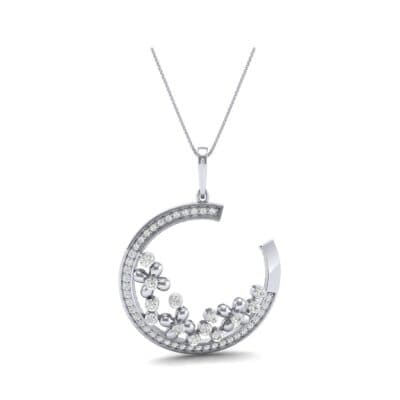 Open Circle Flora Diamond Pendant (0.86 CTW) Perspective View