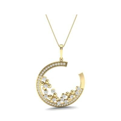 Open Circle Flora Diamond Pendant (0.86 CTW) Perspective View