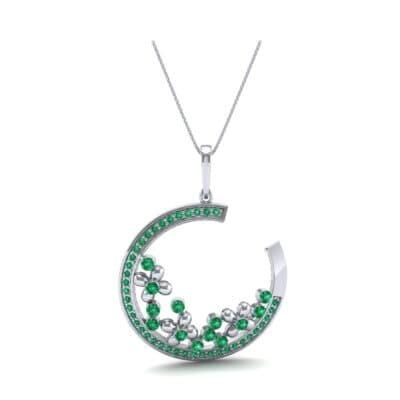 Open Circle Flora Emerald Pendant (0.86 CTW) Top Dynamic View