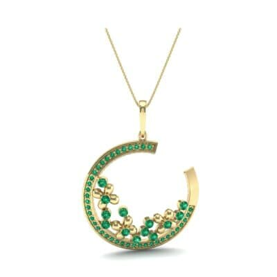 Open Circle Flora Emerald Pendant (0.86 CTW) Top Dynamic View