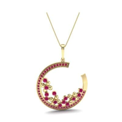 Open Circle Flora Ruby Pendant (0.86 CTW) Top Dynamic View