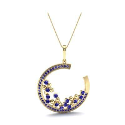 Open Circle Flora Blue Sapphire Pendant (0.86 CTW) Top Dynamic View