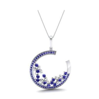 Open Circle Flora Blue Sapphire Pendant (0.86 CTW) Top Dynamic View