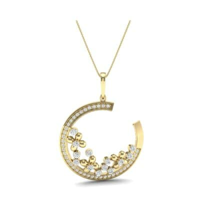 Open Circle Flora Diamond Pendant (0.86 CTW) Top Dynamic View