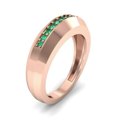 Beveled Edge Inset Pave Emerald Ring (0.16 CTW) Perspective View