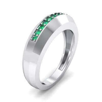 Beveled Edge Inset Pave Emerald Ring (0.16 CTW)