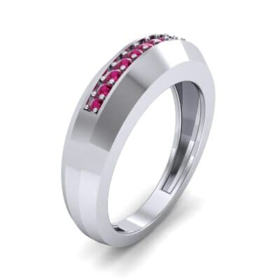 Beveled Edge Inset Pave Ruby Ring (0.16 CTW) Perspective View