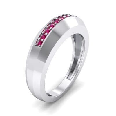 Beveled Edge Inset Pave Ruby Ring (0.16 CTW)