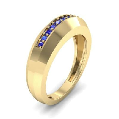 Beveled Edge Inset Pave Blue Sapphire Ring (0.16 CTW) Perspective View