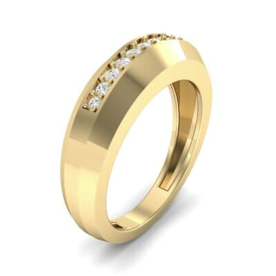Beveled Edge Inset Pave Diamond Ring (0.16 CTW) Perspective View