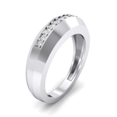 Beveled Edge Inset Pave Diamond Ring (0.16 CTW)