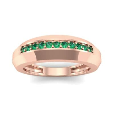 Beveled Edge Inset Pave Emerald Ring (0.16 CTW) Top Dynamic View