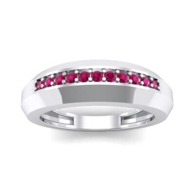 Beveled Edge Inset Pave Ruby Ring (0.16 CTW) Top Dynamic View