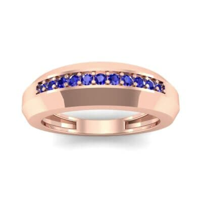 Beveled Edge Inset Pave Blue Sapphire Ring (0.16 CTW) Top Dynamic View