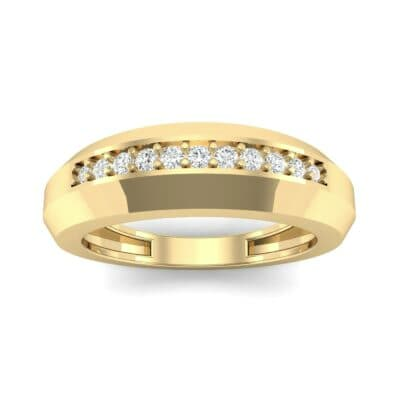Beveled Edge Inset Pave Diamond Ring (0.16 CTW) Top Dynamic View
