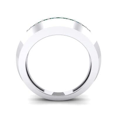 Beveled Edge Inset Pave Emerald Ring (0.16 CTW) Side View
