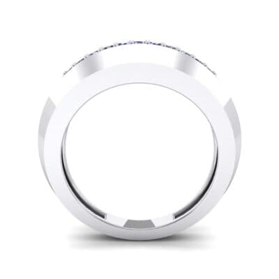 Beveled Edge Inset Pave Blue Sapphire Ring (0.16 CTW) Side View