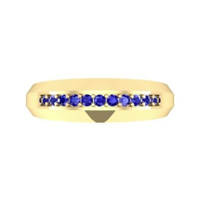 Beveled Edge Inset Pave Blue Sapphire Ring (0.16 CTW) Top Flat View