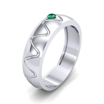Wide Etch Emerald Ring (0.04 CTW) Perspective View