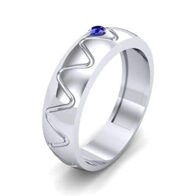 Wide Etch Blue Sapphire Ring (0.04 CTW) Perspective View