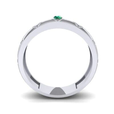 Wide Etch Emerald Ring (0.04 CTW) Side View