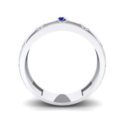 Wide Etch Blue Sapphire Ring (0.04 CTW) Side View