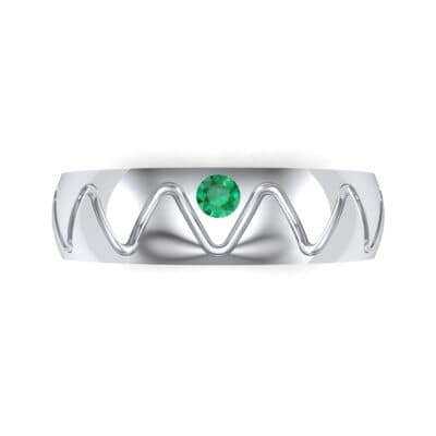 Wide Etch Emerald Ring (0.04 CTW) Top Flat View