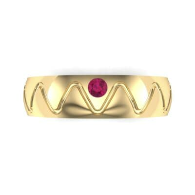 Wide Etch Ruby Ring (0.04 CTW) Top Flat View