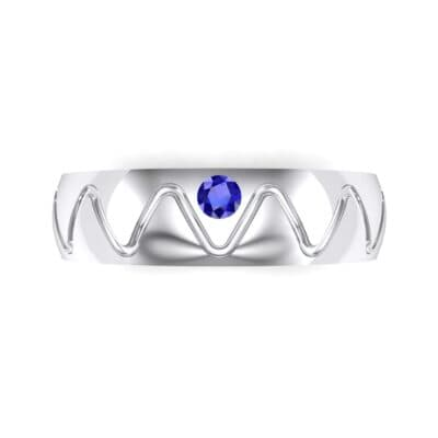 Wide Etch Blue Sapphire Ring (0.04 CTW) Top Flat View