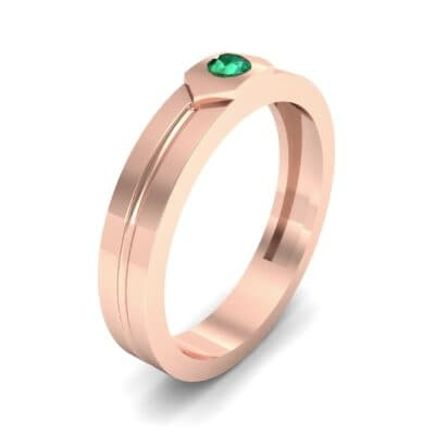 Hexa Solitaire Emerald Ring (0.06 CTW) Perspective View