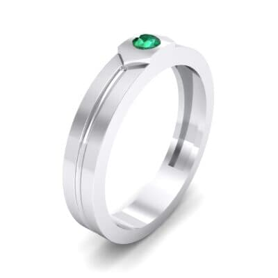 Hexa Solitaire Emerald Ring (0.06 CTW) Perspective View