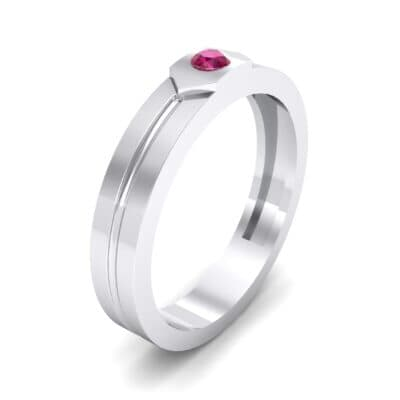 Hexa Solitaire Ruby Ring (0.06 CTW) Perspective View