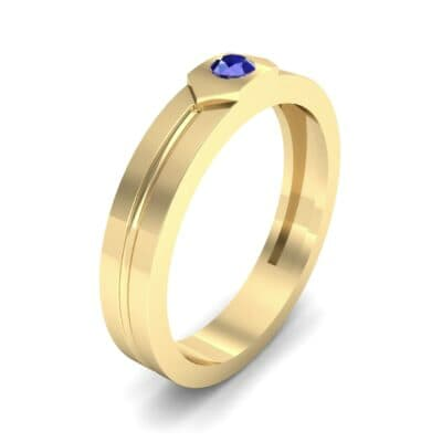 Hexa Solitaire Blue Sapphire Ring (0.06 CTW) Perspective View