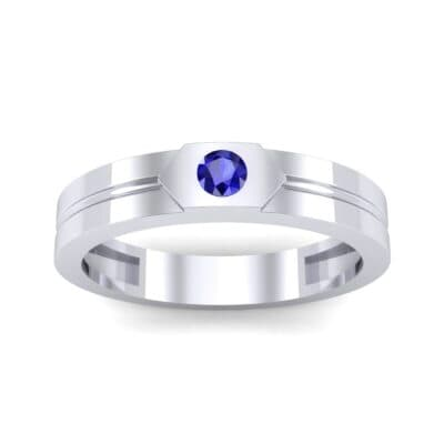Hexa Solitaire Blue Sapphire Ring (0.06 CTW) Top Dynamic View