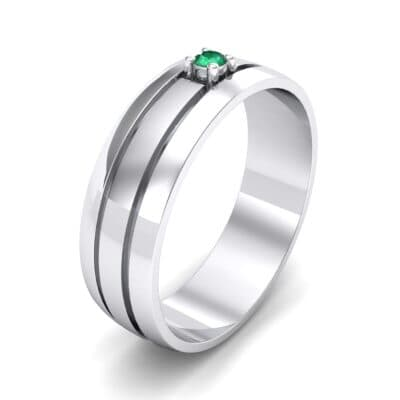 Banded Solitaire Emerald Ring (0.04 CTW) Perspective View