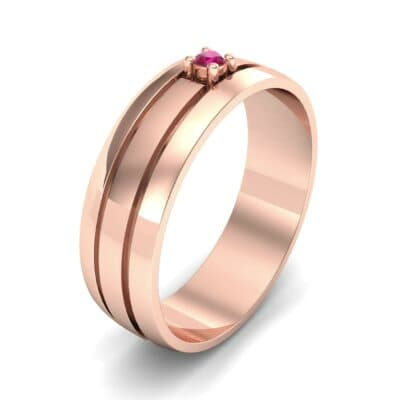 Banded Solitaire Ruby Ring (0.04 CTW) Perspective View