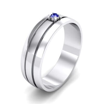 Banded Solitaire Blue Sapphire Ring (0.04 CTW) Perspective View