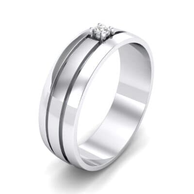 Banded Solitaire Crystal Ring (0.04 CTW) Perspective View