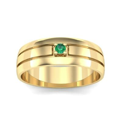 Banded Solitaire Emerald Ring (0.04 CTW) Top Dynamic View