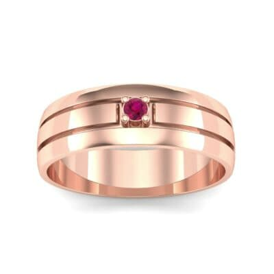 Banded Solitaire Ruby Ring (0.04 CTW) Top Dynamic View