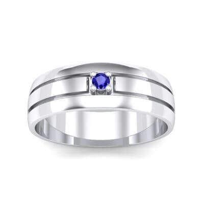 Banded Solitaire Blue Sapphire Ring (0.04 CTW) Top Dynamic View