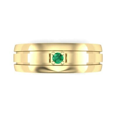 Banded Solitaire Emerald Ring (0.04 CTW) Top Flat View