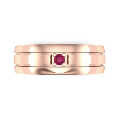 Banded Solitaire Ruby Ring (0.04 CTW) Top Flat View