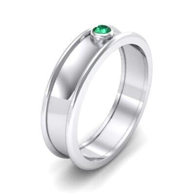 Raised Edge Bezel Emerald Ring (0.07 CTW)