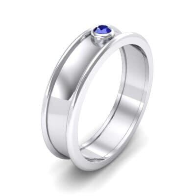 Raised Edge Bezel Blue Sapphire Ring (0.07 CTW)