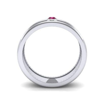 Raised Edge Bezel Ruby Ring (0.07 CTW) Side View