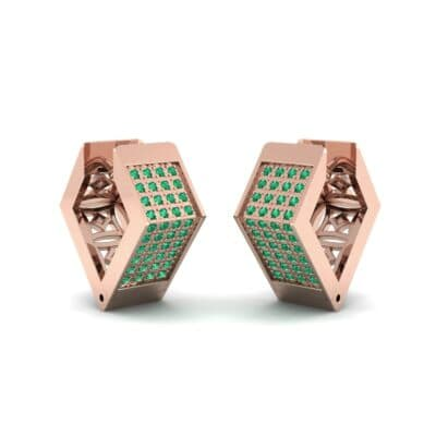 Square Pave Emerald Huggie Earrings (0.4 CTW) Perspective View